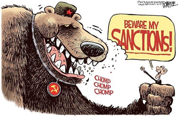 Современная карикатура: «Бойся моих санкций!»