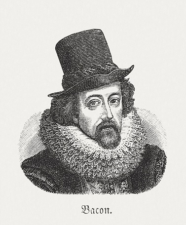 "Francis Bacon (1561 - 1626), English philosopher, statesman, and pioneer of empiricism. Woodcut engraving after a painting by Frans Pourbus the Younger (Flemish painter, 1569–1622) in Łazienki-Palast, Warsaw from the book ""Die Welt in Bildern (The World in pictures)"" by Dr. Chr. G. Hottinger. Published by himself, 1881"