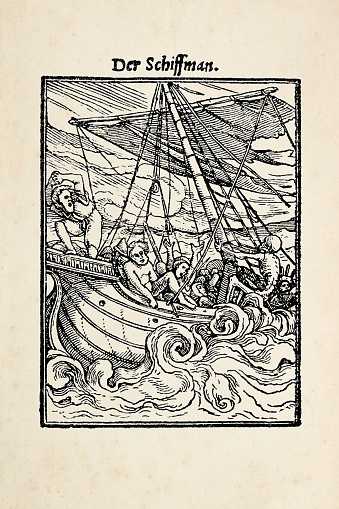 Woodcut of sailor - Original edition from my own archives - Source : Hans Holbein's Todtentanz 1832 Holbein, Hans ( 1497-1543 )